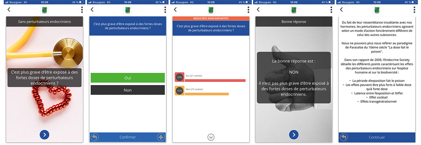 visuels du quiz proposé à distance depuis l'application citoyenne et la plateforme en ligne