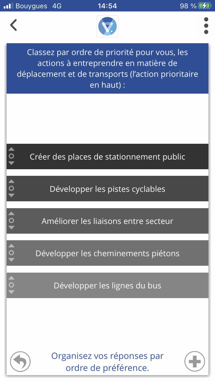 question avec réponse par classement application citoyenne Vooter